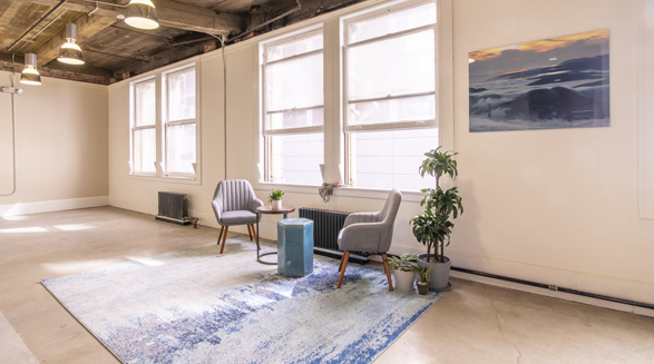 lounging area in a coworking space